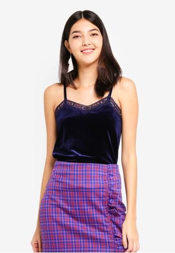 JACQUELINE DE YONG blue Sandy Lace Singlet 3510EAA8591950GS_1
