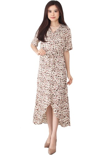 Flike Batik multi Wrap Dress White Sakura 77E1AAA5041215GS_1
