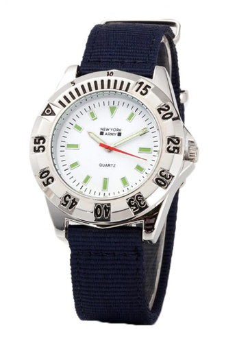 Greatvalueplus white and navy Newyork Army NYA8910 Men's Nylon Strap Watch GR688AC53RRQPH_1