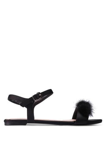 Velvet black Pom Pom Sandals 9261FSH5EEB2F7GS_1