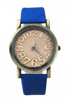 Women's Leather Watch with Big Dial Number Design