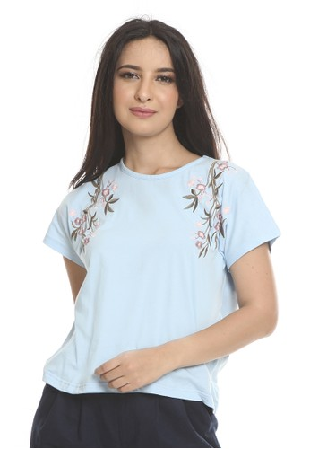 et cetera blue Flower embroidery t-shirt FB91BAA7682F7AGS_1