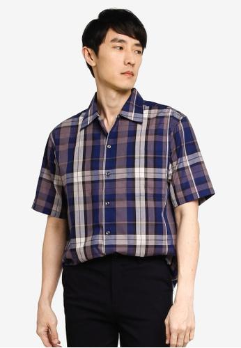 GLOBAL WORK navy Checkered Shirt CC4EEAAC62C900GS_1