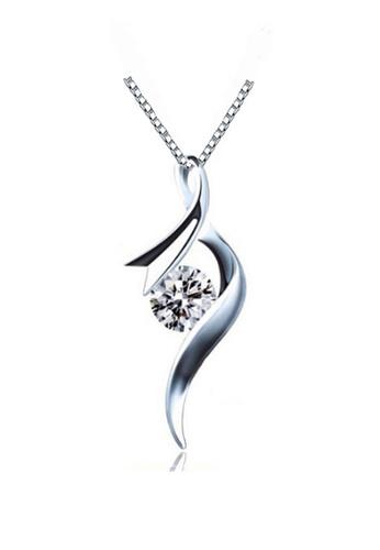 YOUNIQ silver YOUNIQ Ribbon 925 Sterling Silver Necklace Pendant with White Cubic Zirconia 6B92AACE7188C2GS_1