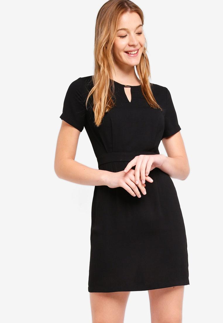 ZALORA Black Detail Dress Metal Bar Neck BASICS Basic 86qzXw