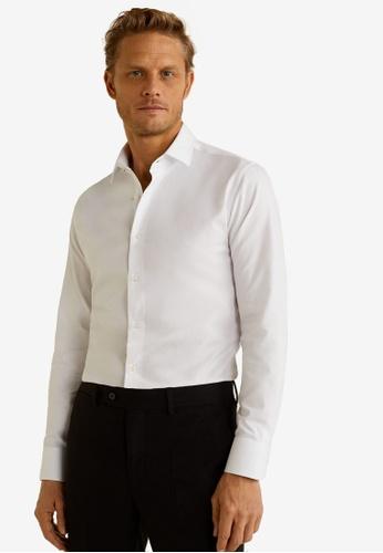 Mango Man 白色 Slim Fit Tailored Cotton Shirt 6C476AA11864BDGS_1