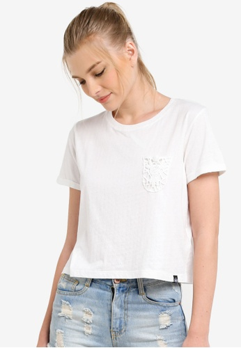 Superdry white Lace Pocket Crop Tee SU137AA0S4EMMY_1
