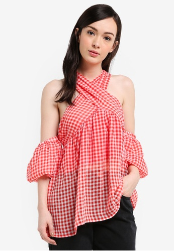 LOST INK red Check Smock Blouse 03592AA59746CDGS_1