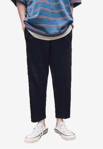 hk-ehunter black Men's Striped Cropped Pants E4A4FAAA0C7D5EGS_1
