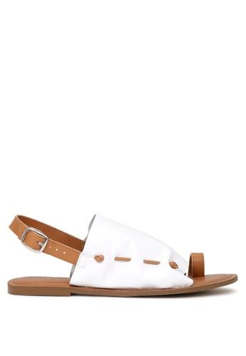 RAG & CO white Fran Back Strap Flat Sandal 49B72SH7D969B5GS_1