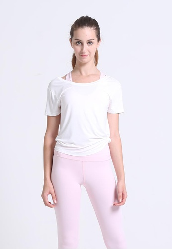DEVI white Modal Short Sleeve Top With T-back details C57B0AAA03245BGS_1