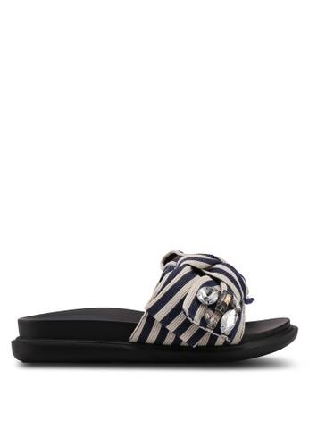Nose blue Stripes Bowtie Flat Slides 888DASHB2B9C99GS_1