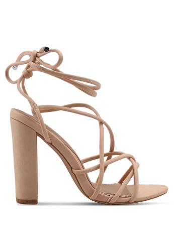 MISSGUIDED brown and beige Nude Multi Strap Block Heels 4E209SH8E1F288GS_1