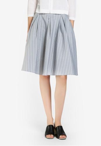 Hopeshow grey Striped Flair Skirt 868EBAAE73729CGS_1