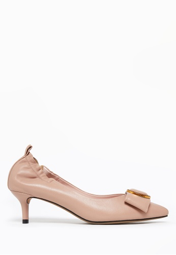 PAZZION beige Pointy Toe Bow Heels 33188SHA21A319GS_1