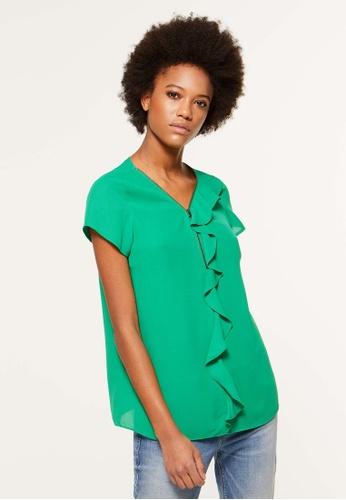 Sisley 綠色 荷葉邊設計上衣 21F9EAAC2D7896GS_1
