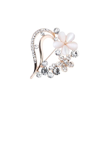 Glamorousky white Fashion and Simple Plated Gold Heart-shaped Flower Brooch with Cubic Zirconia FAFECAC2D8FBFCGS_1