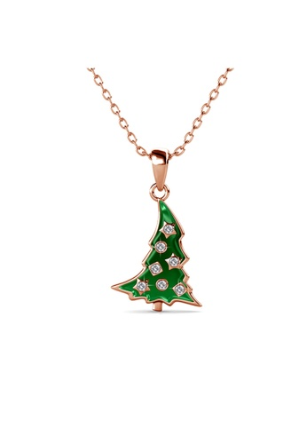Her Jewellery gold Her Jewellery Christmas Tree Pendant with Necklace Chain (Rose Gold) embellished with Crystals from Swarovski DAA62ACE596A8BGS_1