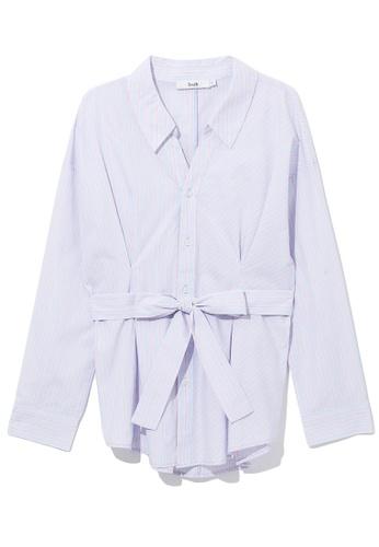 b+ab pink Ribbon-tie shirt 68E84AADBE4523GS_1