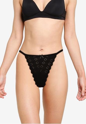Cotton On Body black Brodie Lace Tanga G String Briefs 58A62USB04C08CGS_1