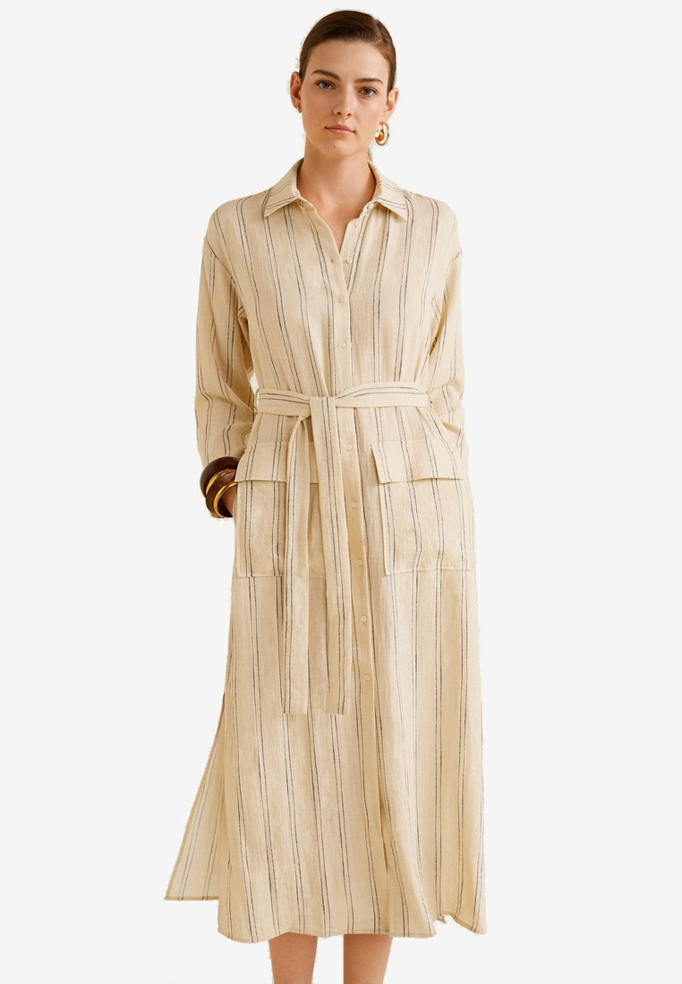Shirt Light Dress Beige Striped Mango AUOqOw