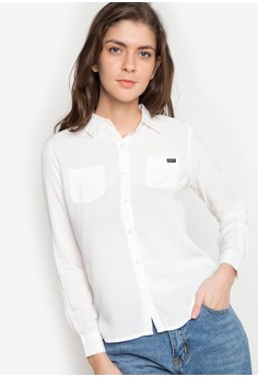 Plain Long Sleeves Woven Shirt With Pocket