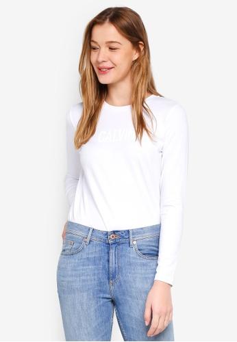Calvin Klein white Long Sleeve New Fa Straight Tee - Calvin Klein Jeans D5E53AA3496ED5GS_1