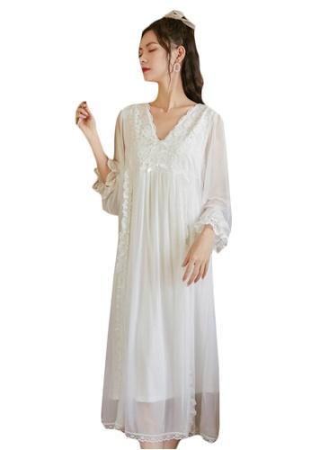 LYCKA white LML1313-Lady One Piece Long Sleeve Lace Sleepwear-White 0BF72AAAFAC798GS_1
