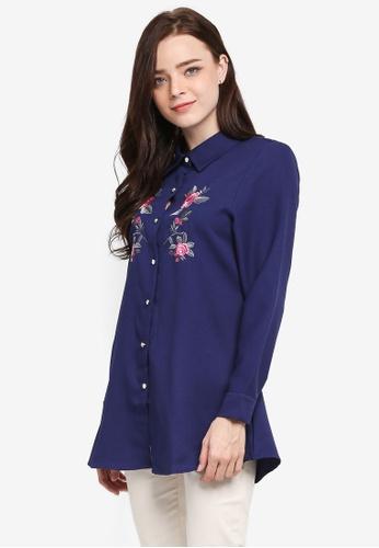 BYN blue Embroidery Shirt 18C7BAA380440AGS_1