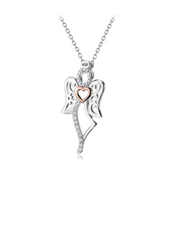 Glamorousky white 925 Sterling Silver Fashion Temperament Angel Rose Gold Heart Pendant with Cubic Zirconia and Necklace 757A0AC703907BGS_1