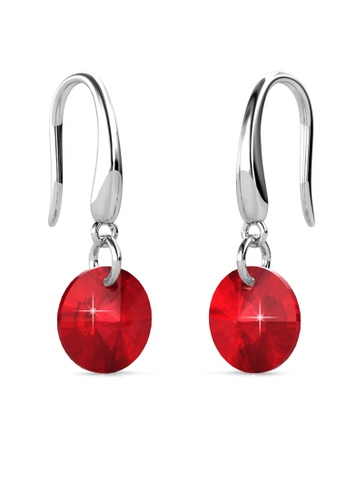 Her Jewellery silver Circlet Hook Earrings (Ruby Red) - Made with premium grade crystals from Austria HE210AC0GJSGSG_1