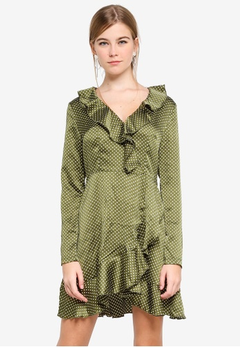 MISSGUIDED green Ruffle Tea Satin Dress 5E937AAE13F139GS_1
