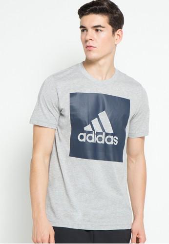 adidas grey adidas essentials box logo tee AD349AA92AYHID_1
