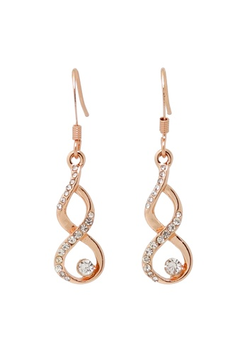 Jaysa Collection gold Rose Gold Twisted Ribbon Earrings With Crystals JA875AC0FJU1SG_1