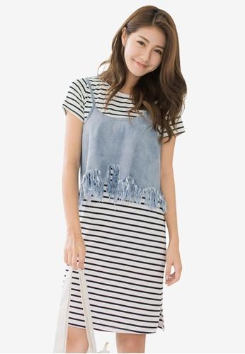 Tokichoi white Denim Cami Crop Top and Stripe Dress 08249AA12F823FGS_1