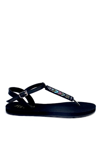 Ripples black Arika Aztec Slide'N'Style T-Bar Sandals RI425SH12UYLSG_1