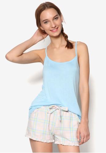 柔和背心上衣格紋短褲睡衣組esprit 台北合, 服飾, 服飾