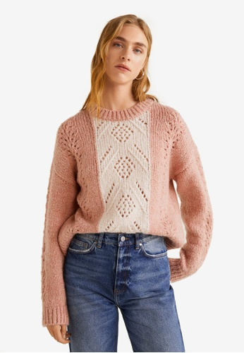 c1fa02fb2dd9b3 Shop MANGO Contrasting Knit Sweater Online on ZALORA Philippines