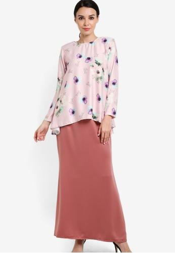 JubahSouq pink Nuraa Azalea Peplum Kurung Set JU399AA95RWUMY_1