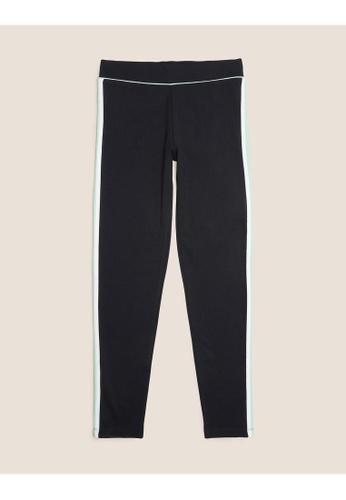 MARKS & SPENCER black M&S Ponte Side Stripe Black Leggings (6-14 Yrs) 6145DKA2DACC66GS_1