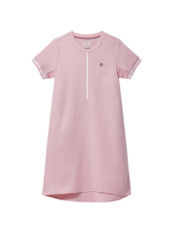 FILA pink White Line Dress 51125AA083FE98GS_1