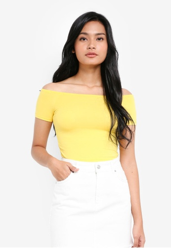 Miss Selfridge yellow Yellow Bardot Crop Top 61CBBAA9BBD45CGS_1
