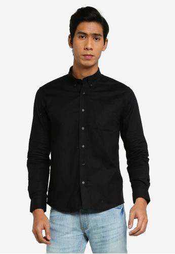 Electro Denim Lab black Stretch Oxford Shirt 41945AA97C69D6GS_1