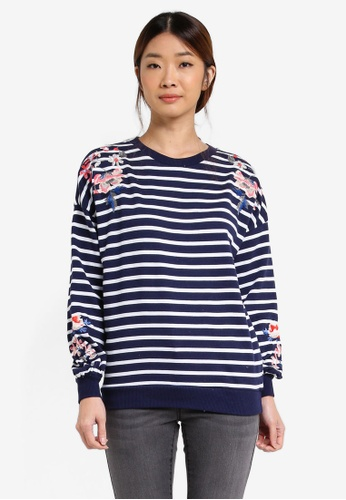 Dorothy Perkins blue and navy Embroidered Sweater DO816AA0T06EMY_1
