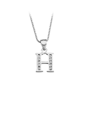 Glamorousky white 925 Sterling Silver Fashion Simple English Alphabet H Pendant with Cubic Zirconia and Necklace 98D48ACECEA6F3GS_1