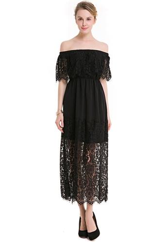 Sunnydaysweety black Black Lace Off Shoulder Short Sleeves One Piece Dress UA112307BK 4F462AAE118DD4GS_1