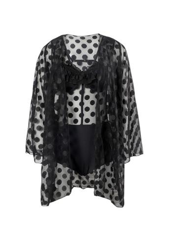 YG Fitness black (2PCS) Sexy Polka Dot Low V One-Piece Swimsuit 37DB0US5B0688DGS_1