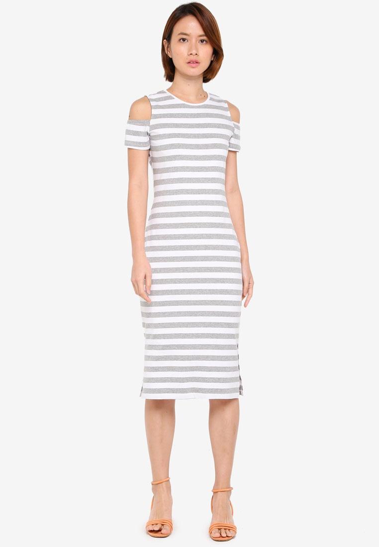 White BASICS Dress Bodycon Stripe Jersey ZALORA Cold Shoulder Grey qOBgy4