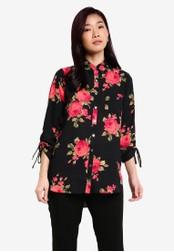 Dorothy Perkins black Black Rose Longline Shirt DO816AA0RQTMMY_1