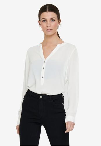 JACQUELINE DE YONG white Newtrack Long Sleeve Blouse D3315AA7310151GS_1